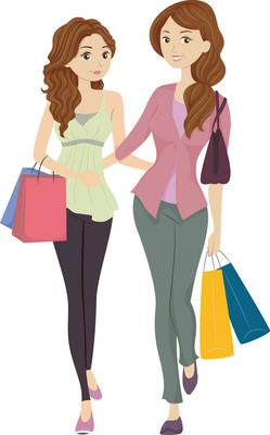 Perheen naisväen shoppailukierroksella tyttären sana on valinnoissa painavin. Kuva: iclipart.com.