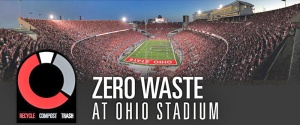 """Ohion valtionyliopiston yli 100 000 katsojan stadionium kunnianhimoisen """"nollajäte-areena"""" -tavoitteen onnistuminen on todellinen mestarisuoritus"""