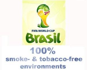 Kansainvälinen jalkapalloliitto (FIFA) pitää seuraavissa, Brasiliassa järjestettävissä jalkapalloilun suurtapahtumissa jo aikaisemmin hyväksymänsä, kaiken tupakointiin liittyvän toiminnan täyskiellon.