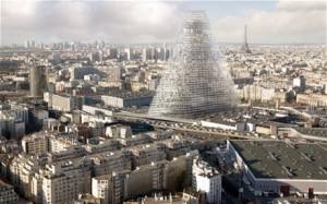 """180-metriseksi aiottu """"Kolmiotorni"""" hallitsisi Pariisin varsin tasaista kaupunkikuvaa, josta tätä nykyä nousee Eiffeltornin lisäksi vain yksi pilvenpiirtäjä."""
