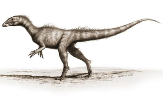 Dragoraptor hanimani: fossiililöytöihin perustuva taiteilijan näkemys walesilaisesta, maailman vanhimmasta dinosauruksesta. Kuva: Bob Nichols, PLoS ONE.