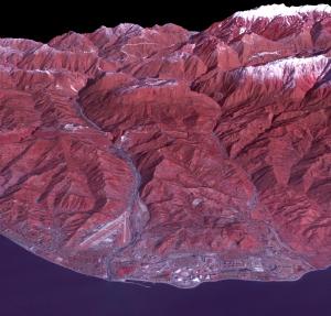 ASTER-satelliitin kuva Sotšin 2014 talviolympialaisten suorituspaikoilta. Kuva: NASA.gov.