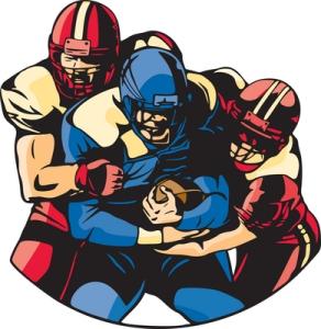 Pelaaminen amerikkalaisen jalkapallon NFL-ammattilaisliigassa on todellista kontaktiurheilua, jossa päähän kohdistuvat iskut ovat tavallisia. Kuva: iclipart.