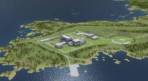 Havainnekuva Fennovoiman suunnitellusta, Pyhäjoelle rakennettavasta Hanhikivi-1 -ydinvoimalasta. Kuva: AtomenergiaInfo.hu.