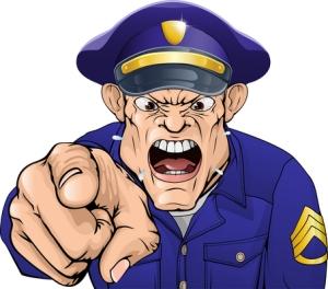 Kiusaajia (tai kiusaajan vanhempia) odottaa ainakin amerikkalaiskaupungissa opettajan pitämää puhuttelua pahempikin seuraus, polisin määräämä tuntuva sakko. Kuva: iclipart.com.