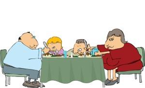 Ruokailutavat periytyvät usein oppimisen seurauksena, mutta tätäkin vakavampaa näyttää ainakin eläinkokeiden perusteella olevan epäterveellisen ruokavalion aiheuttama sairastumisriski jopa lasten-lasten-lapsille. Kuva: iclipart.com.