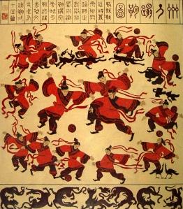Jalkapallolla on Kiinassa pitkät perinteet. Han-dynastian aikainen maalaus (ajanlaskun alun tienoilla) osoittaa pelaajien viihtyneen pelikentillä yhdessä koirien ja hanhien kanssa. Kuva: www.multipletext.com.
