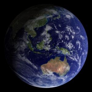 Australian paikka maailmankartalla on jotakuinkin ennallaan, mutta tarkoissa pakannukissa käytettävät koordinaatit pitää päivittää. Kuva: NASA, Robert Simmon and Reto Stöckli.