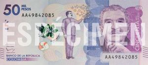 Banknote featuring Gabriel Carcía Márquez in Colombia. Photo credit Banknotenews.com,
