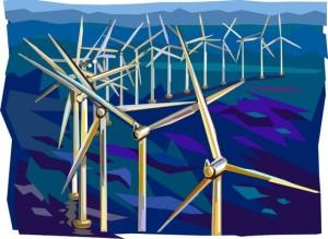 Britannian tuulivoimakapasiteetista noin kaksi kolmasosaa tuotetaan sisämaan voimaloissa, mutta jatkossa lisäpanostukset keskittyvät merialueen tuulipuistoihin. Kuva: iclipart.com.