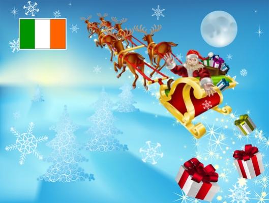 Irlannin tasavallassa varmistettiin hallitustasolla, että joulupukin matka sujuu aattoiltana ongelmitta. Kuva: iclipart.com.