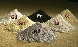 Kuuden harvinaisen maametallien oksideja. Gd (gadolinium), Pr (praseodyymi), Ce (cerium), Sm (samarium), Nd (neodyymi), La (lanthaani). Kuva: Peggy Greb, USDA.