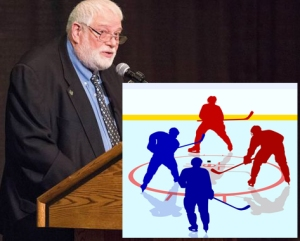 Professori Michael Kennedy on kehittänyt jääkiekkoaiheista keinon opettaa englanninkielen kielioppia ja rakenteita kanadalaisnuoria kiinnostavalla tavalla. Kuva: Times Higher Education, Piirros: iclipart.com.