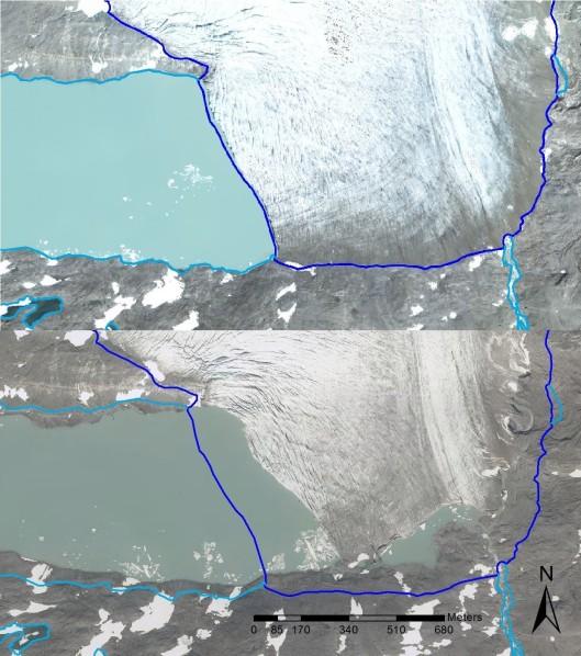 Ruotsin suurimman jäätikön – Sálajiegna-jäätikön – pinta-ala vuonna 2008 (ylempi kuva) ja 2014 (alempi kuva). Kuva: Björn Olander, Lantmäteriet, Swedish National Land Survey.